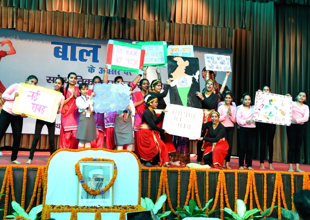 Students during a programme organised on the occasion of Children's Day, in Patna on Nov 14, 2019.