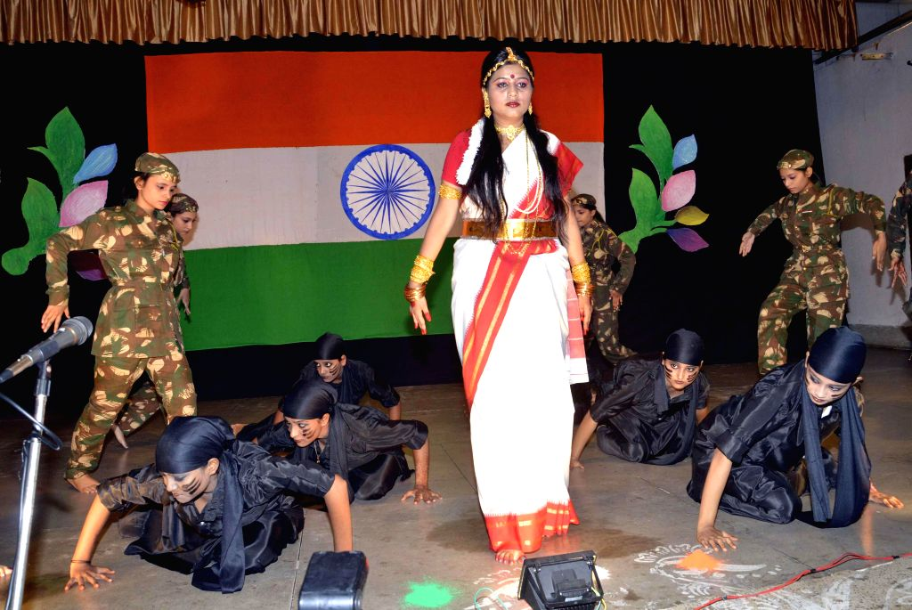 Students during a programme organised to celebrate Independence Day at Patna Women's College in Patna on Aug 14, 2014.