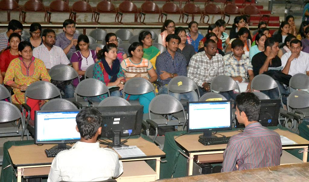 Students during COMEDK PGET-2014 counselling session at NMKRV College in Bangalore on April 21, 2014.