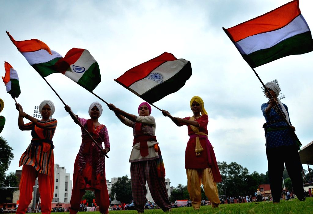 Students during Independence Day parade rehearsals, in Amritsar on Aug 9, 2019.
