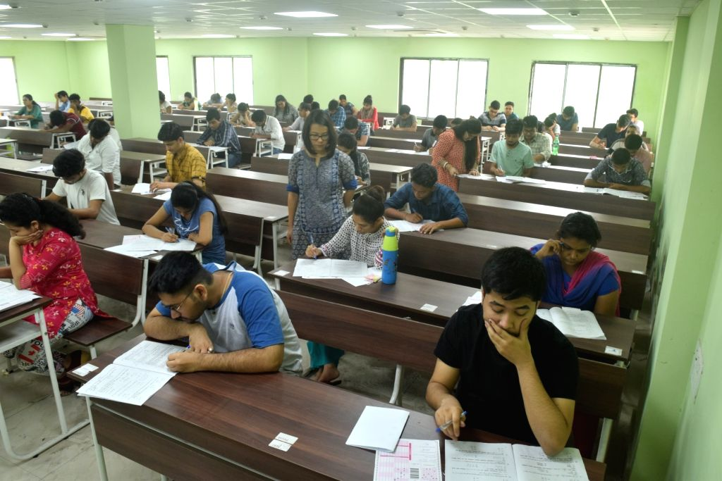Students during Joint Entrance Examination (JEE) 2019 in Kolkata, on May 26, 2019.