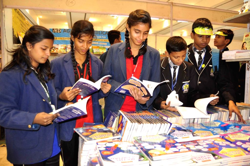 Students during Patna Book Fair on Dec 6, 2017.