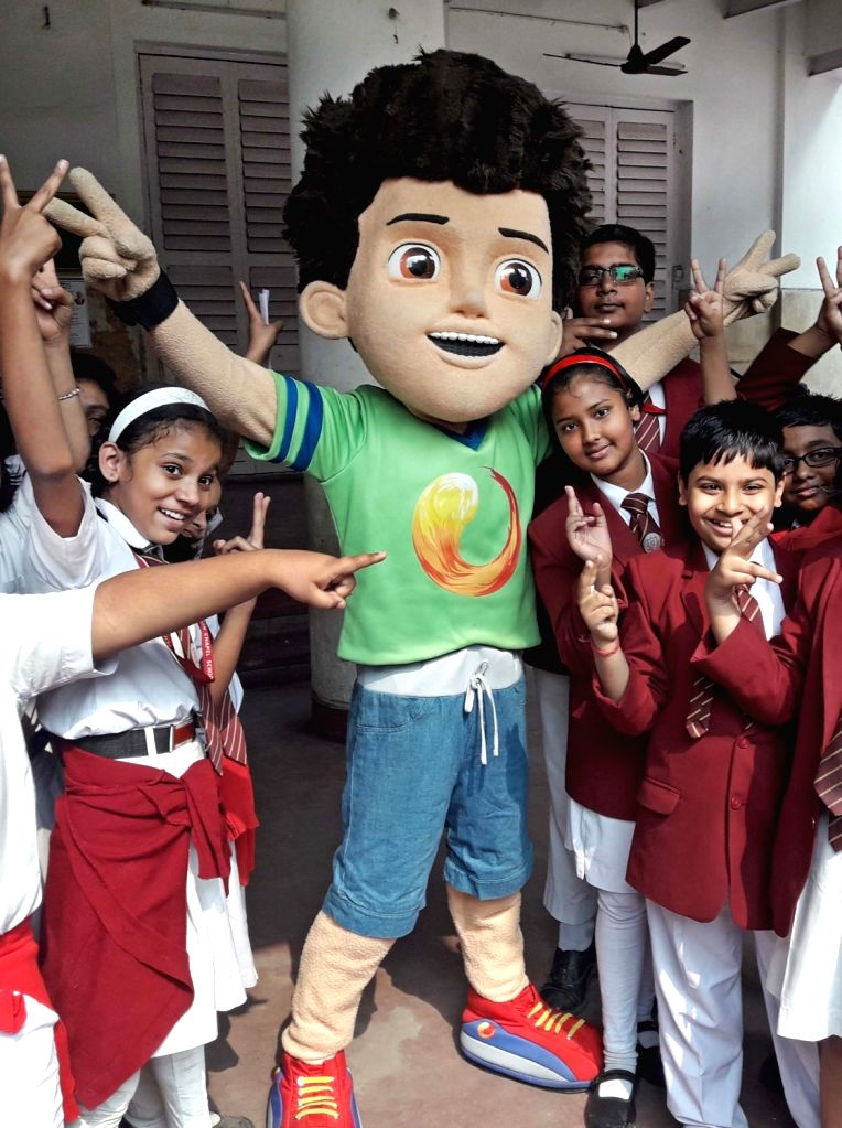 Students during Republic Day celebrations at their school in Kolkata, on Jan 22, 2019.
