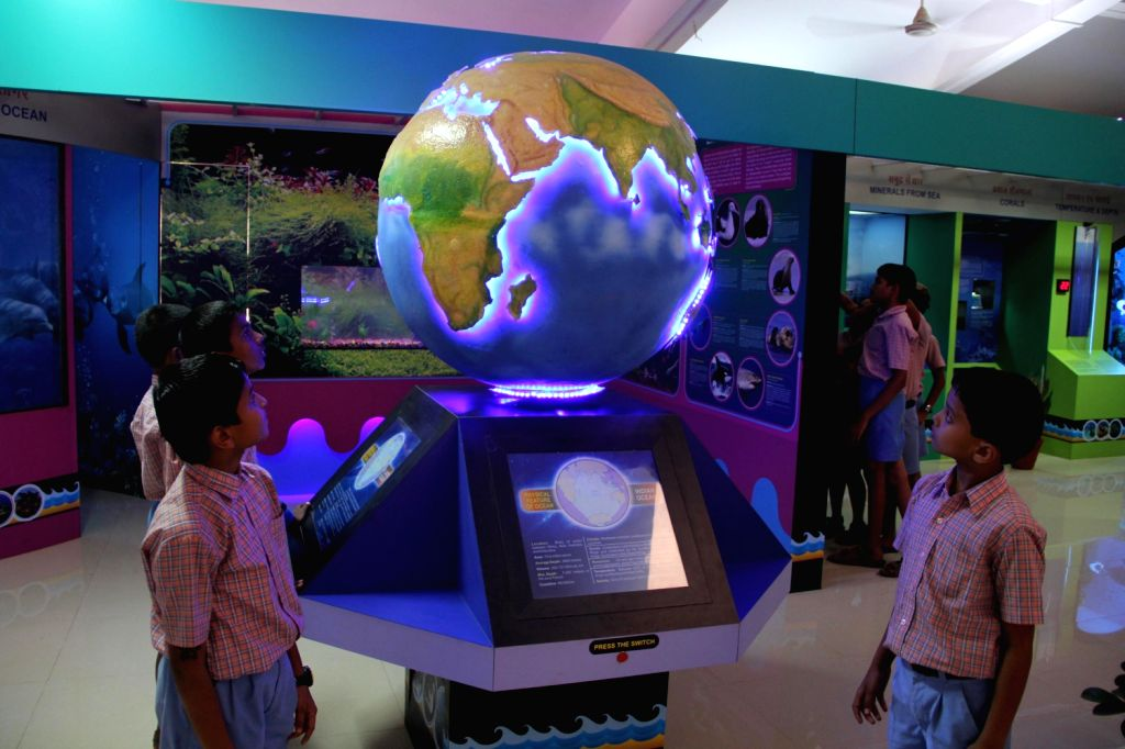 Students during their visit to newly inaugurated `Science of Ocean` which hosts displays and exhibits explaining various aspects of the ocean science in Panaji on Dec.13, 2013.
