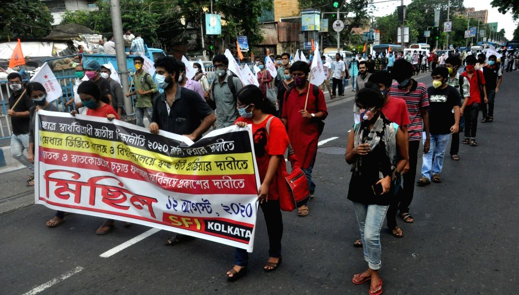 Students Federation of India (SFI) activists stage a demonstration against the National Education Policy 2020, in Kolkata on Aug 12, 2020.