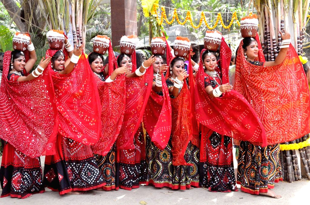 """Students from BMS college wearing folk dresses and performing dances during the """"Janapada Jathre 2020"""" at College premises, in Bengaluru on Feb 07, 2020."""