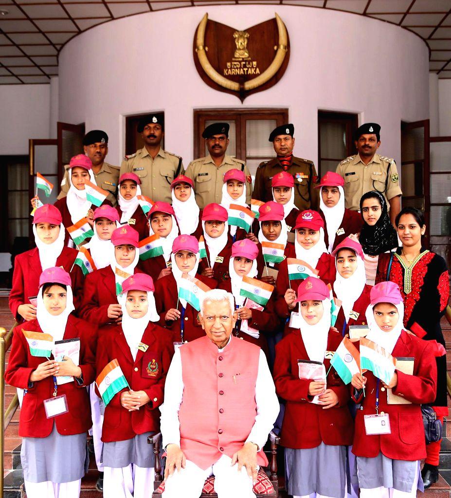 Students from Jammu and Kashmir meet Karnataka Governor Vajubhai Rudabhai Vala at Rajbhavan, in Belagavi on Dec 11, 2014.