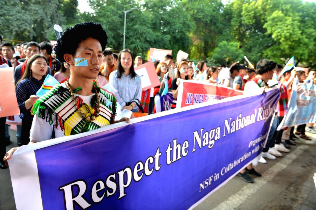 Students from Nagaland under the banner of Naga Students' Federation (NSF) participate in a protest rally at Jantar Mantar in New Delhi on Sep 25, 2019.