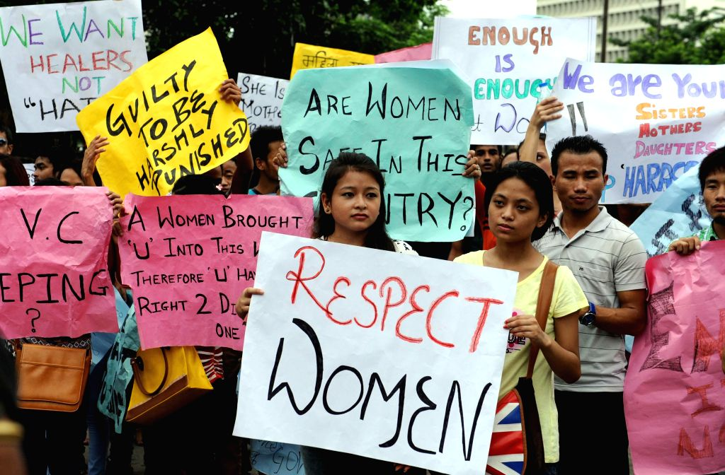 Students from Sikkim take part in a rally protesting against the sexual molestation at Vishva Bharati in Kolkata on Sep 6,2014.