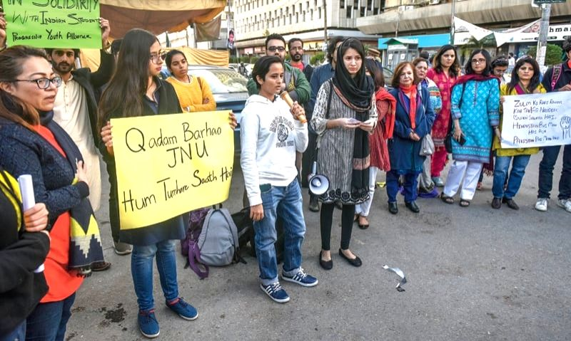 Students in Karachi protest, expressing solidarity with JNU students.