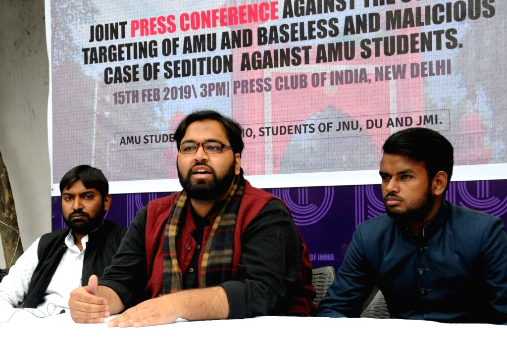 Students Islamic Organisation's Fawaz Shaheen and Syed Azharuddin during a press conference regarding sedition charges on Aligarh Muslim University students in New Delhi on Feb 15, 2019. - Syed Azharuddin