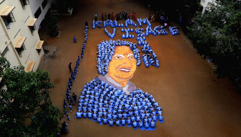 Students of a Chennai school pay tribute to Former President A P J Abdul Kalam ahead of his birth anniversary on Oct 13, 2017. Kalam, was the 11th President of India and born on 15th October.
