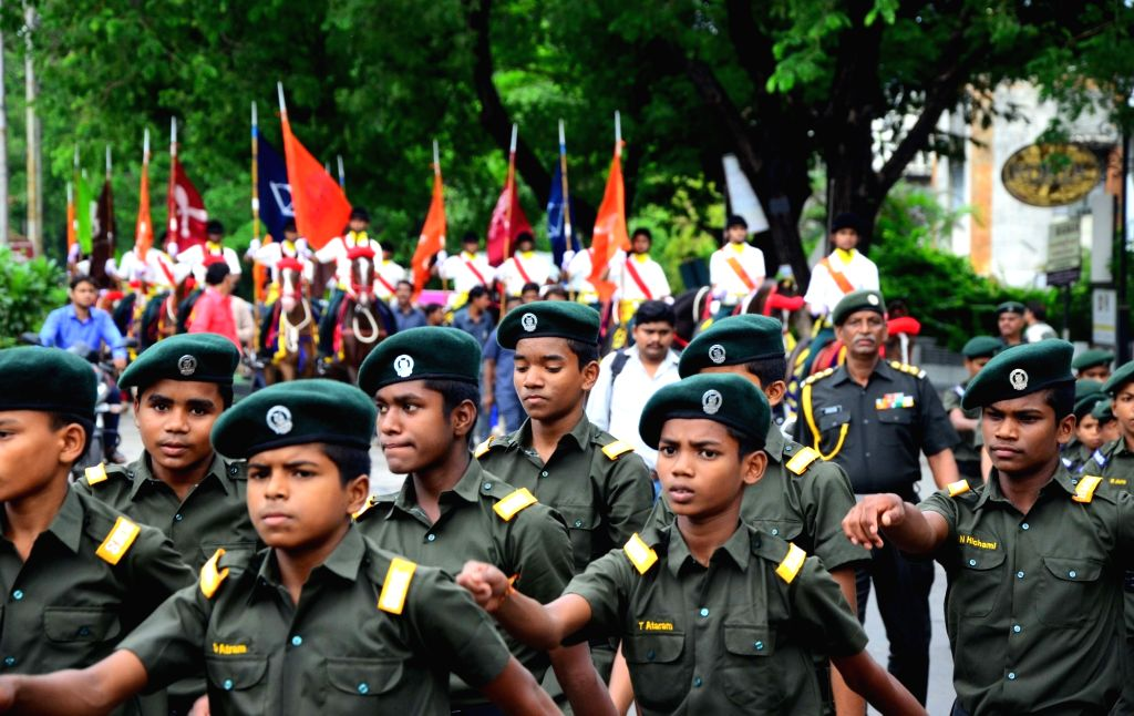 Students of Bhonsala Military School participate in a march organised on the 20th Anniversary of Kargil Vijay Diwas, in Nagpur on July 26, 2019.