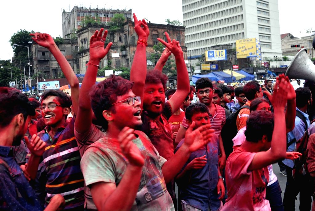 Students of Calcutta Medical College and Hospital(CMCH) celebrate during their victory march after calling off their 14-day long hunger-strike as the college administration agreed to their ...