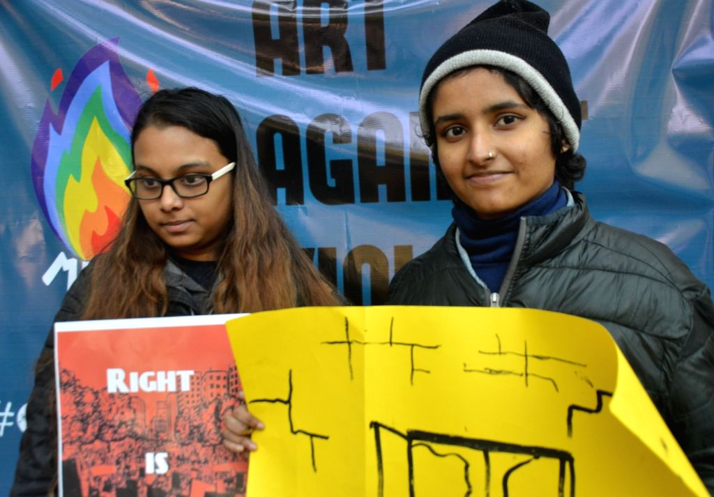 Students of Delhi University's Hindu College protest against JNU violence, outside their campus in New Delhi on Jan 9, 2020.
