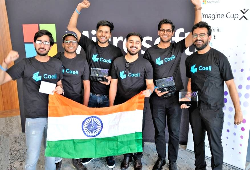 """Students of Faridabad-based Manav Rachna Institute of Research and Studies, who won the Microsoft Imagine Cup Asia Regional Semifinals in Sydney.  The team developed """"Caeli"""" (meaning air) which is a smart automated anti-pollution and drug delivery ma"""