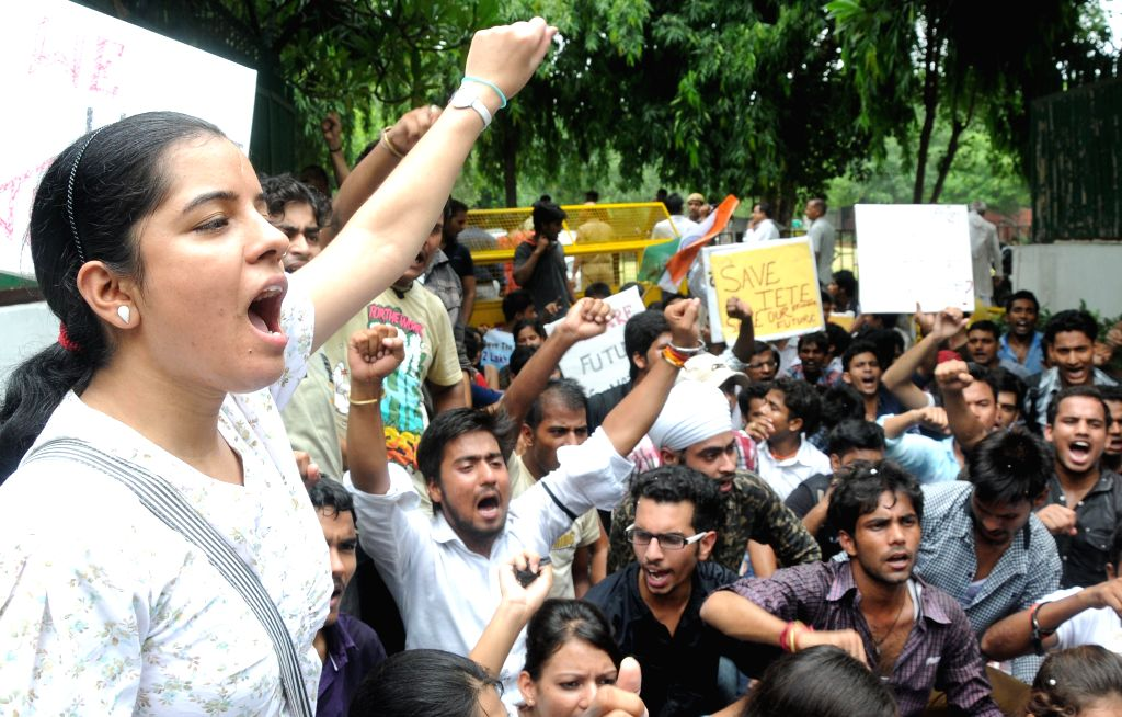 Students of Institution of Electronics and Telecommunication Engineers (IETE) demonstrate outside Human Resource Development (HRD) Minister Smriti Irani's residence against alleged derecognition ... - Smriti Irani