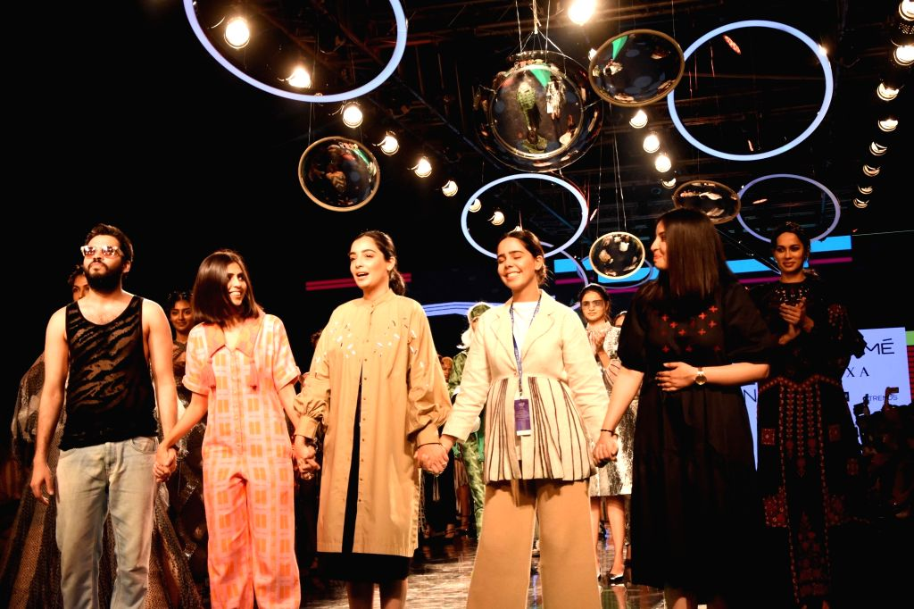 Students of Inter National Institute of Fashion Design West Delhi (INIFD) on Day 2 of the Lakme Fashion Week Summer/Resort 2020, in Mumbai on Feb 12, 2020.