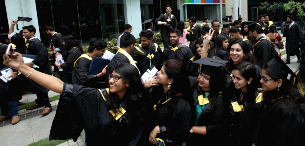 Students of International Management Institute during their Convocation programme in Kolkata on May 18, 2017.