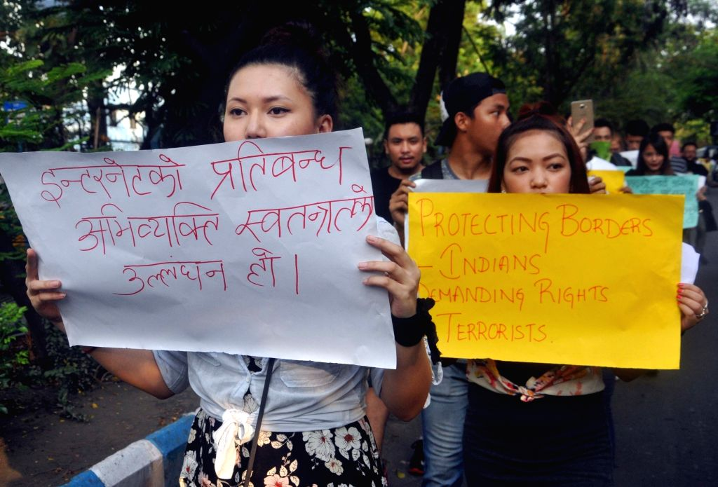 Students of Jadavpur University participate in a silent rally called by Gorkha Democratic Forum (People's Collective) to press for immediate withdrawal of paramilitary forces from the hills ...
