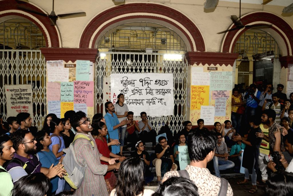 Students of Jadavpur University stage a demonstration to press for their demands in Kolkata, on July 5, 2018. Jadavpur University authorities on Wednesday decided to do away with the ...
