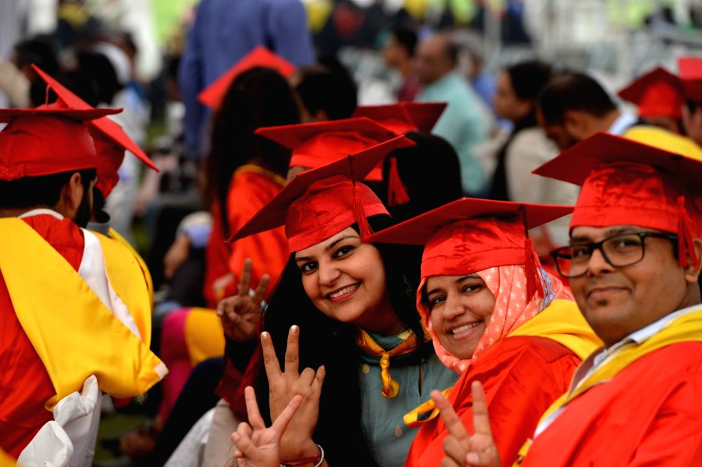 Students of Jamia Millia Islamia (JMI) at their Annual Convocation in New Delhi on Oct 30, 2019.