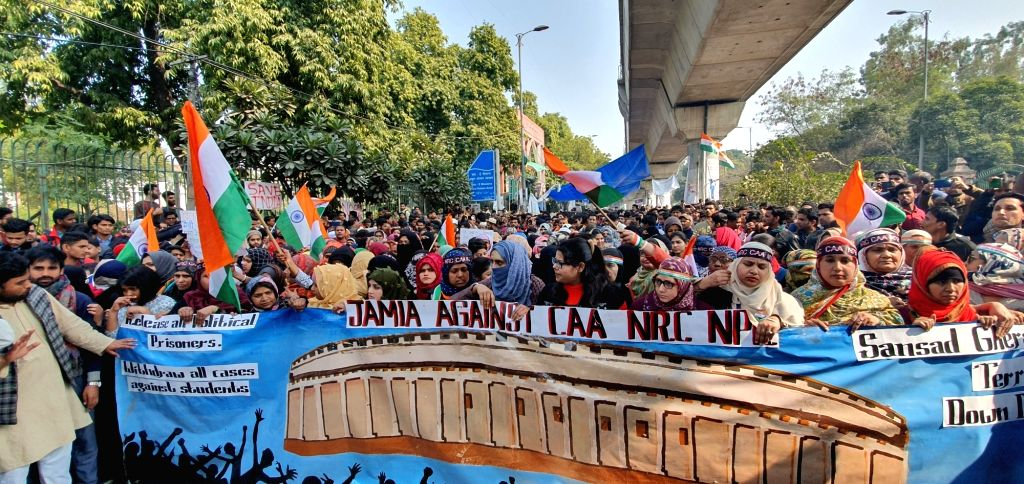 Students of Jamia Millia Islamia (JMI) University take out an Anti-CAA protest march to the Parliament, in New Delhi on Feb 10, 2020. The march to Parliament was called by the Jamia ...