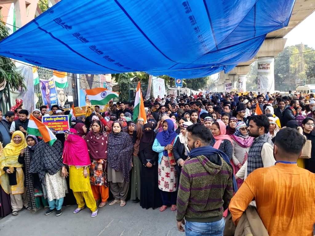 Students of Jamia Millia Islamia (JMI) University take out an Anti-CAA protest march to Parliament, in New Delhi on Feb 10, 2020. The march to Parliament was called by the Jamia ...