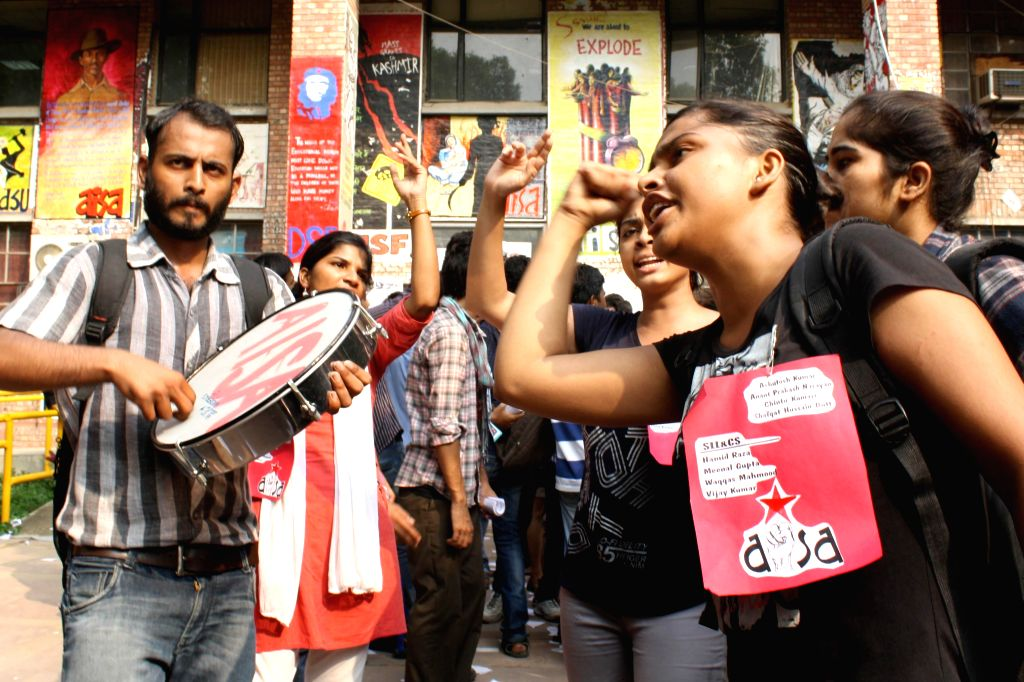 Students of Jawaharlal Nehru University during students' union elections in New Delhi on Sept 12, 2014.