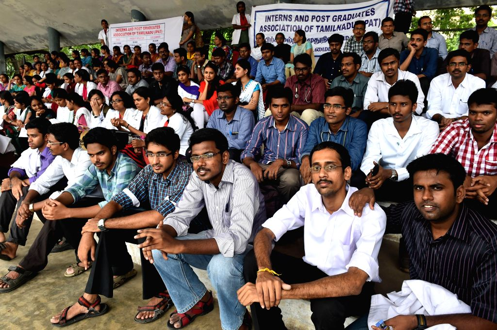 Students of Madras Medical College demonstrate to press for hike in their stipend in Chennai on July 28, 2014.