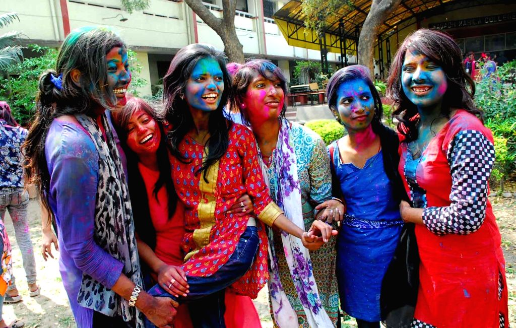 Students of Magadh Mahila College celebrate Holi in Patna on March 10, 2017.