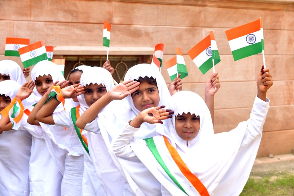 Students of Maulana Abul Kalam Azad school participate in Independence Day celebrations in Jodhpur on Aug 15, 2016.