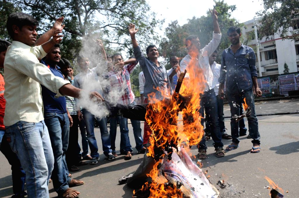 Students of Osmania University in Hyderabad took out a mock funeral procession of Chief Minister N Kiran Kumar Reddy, Congress leaders from Andhra region as well as Telangana ministers as a protest ..