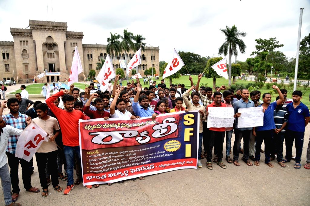 Students of Osmania University participate in a protest rally to press for their various demands, in Hyderabad on Sep 6, 2019.