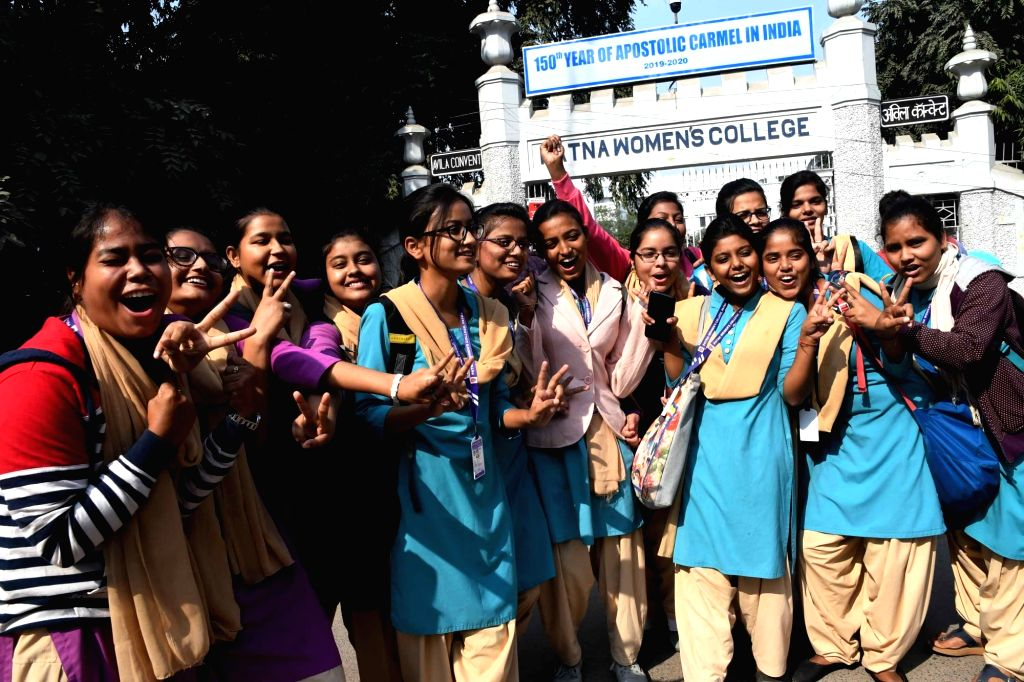 Students of Patna Women's College celebrate after the Hyderabad, police shot dead all the four accused of brutally gang raping and murdering a young veterinarian in Hyderabad, in an alleged ... - Ranga Reddy