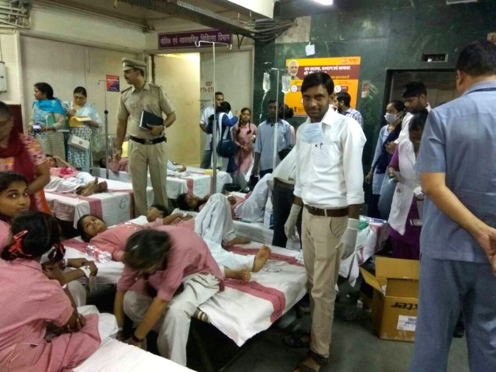 Students of Rani Jhansi Sarvodaya Kanya Vidyalaya who fell ill due to gas leak near the school being treated in New Delhi on May 6, 2017.