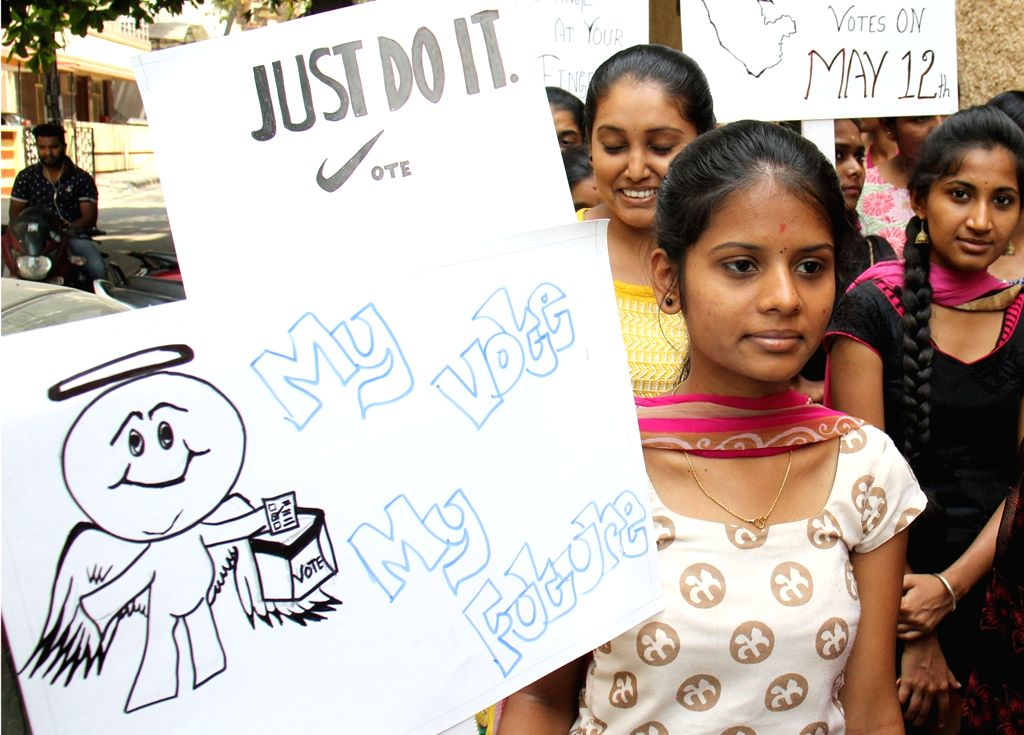 Students participate during a Vote campaign rally in Bengaluru on April 6, 2018.