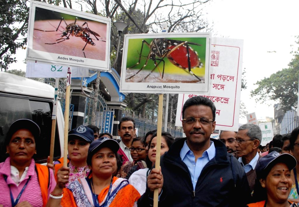 Students participate in a Dengue awareness rally in Kolkata on Feb 08, 2020.