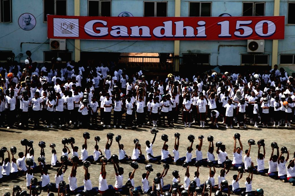 Students participate in a programme organised ahead of Gandhi Jayanti, in Chennai on Sep 30, 2019.