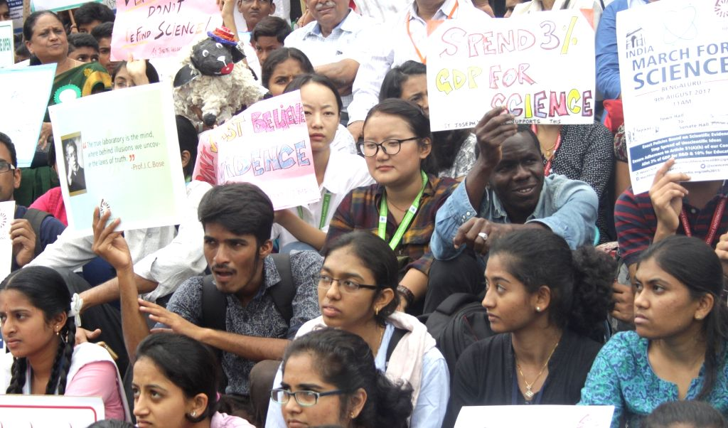 Students participate in a science awareness rally in Bengaluru on Aug 9, 2017.