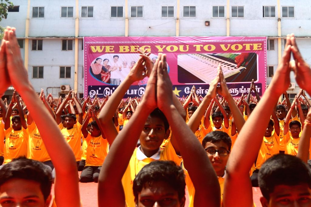 Students participate in a voters' awareness programme, urging people to vote, ahead of 2019 Lok Sabha elections, in Chennai on April 11, 2019. The first phase of the seven-phase 2019 Lok ...