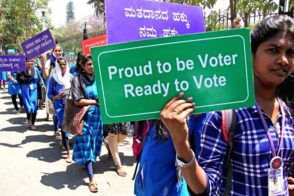 Students participate in a voters' awareness rally at Vidhana Soudha in Bengaluru, on March 7, 2019.