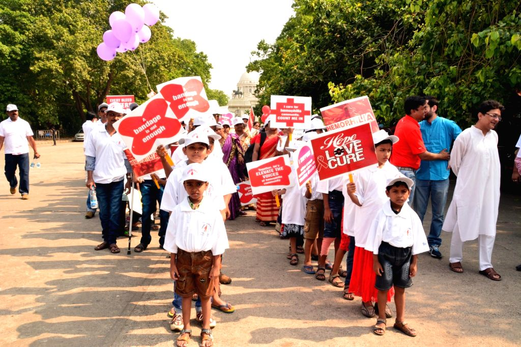 Students participate in a Walkathon for Hemophiliacs in Kolkata on April 30, 2017.