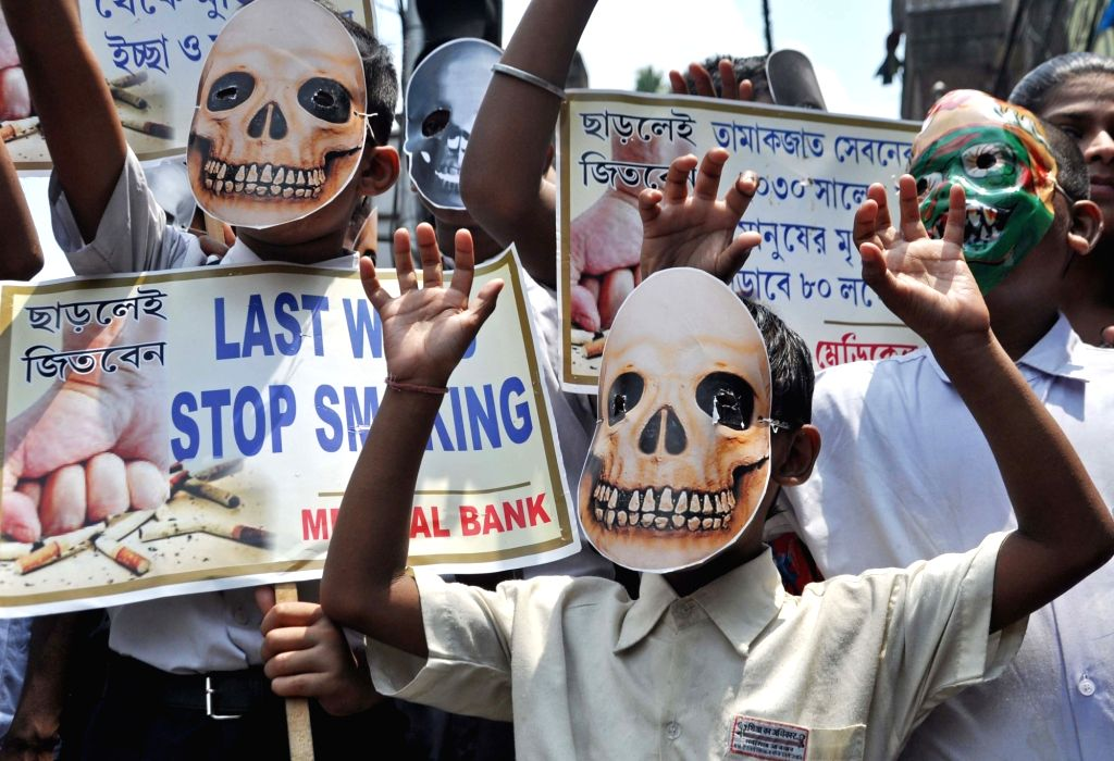 Students participate in an awareness rally on World No-Tobacco Day, in Kolkata on May 31, 2019.