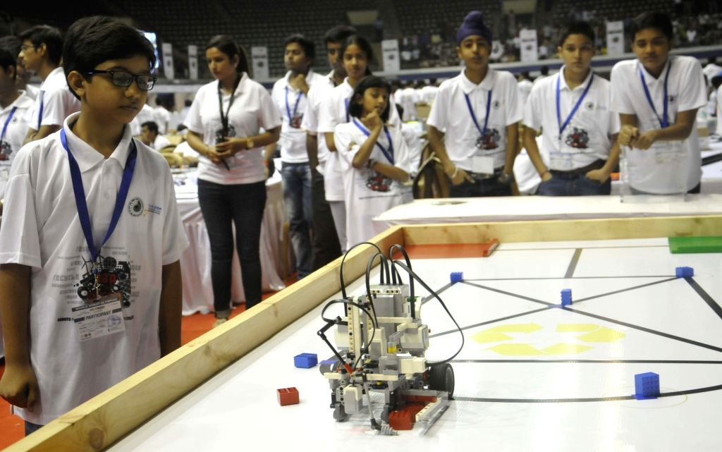 Students participate in National Championship of World Robot Olympiad (WRO) 2016 in Kolkata, on Oct 23, 2016.