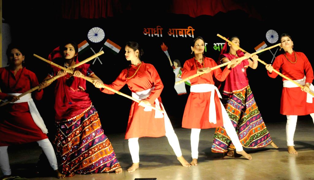 Students perform during a programme organised on the eve of Independence Day in Patna, on Aug 14, 2015.