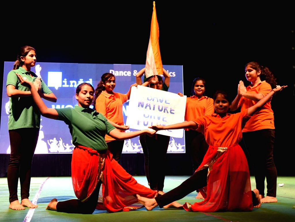 Students perform during a programme organised to celebrate International Dance Day, in Patna on April 27, 2019.