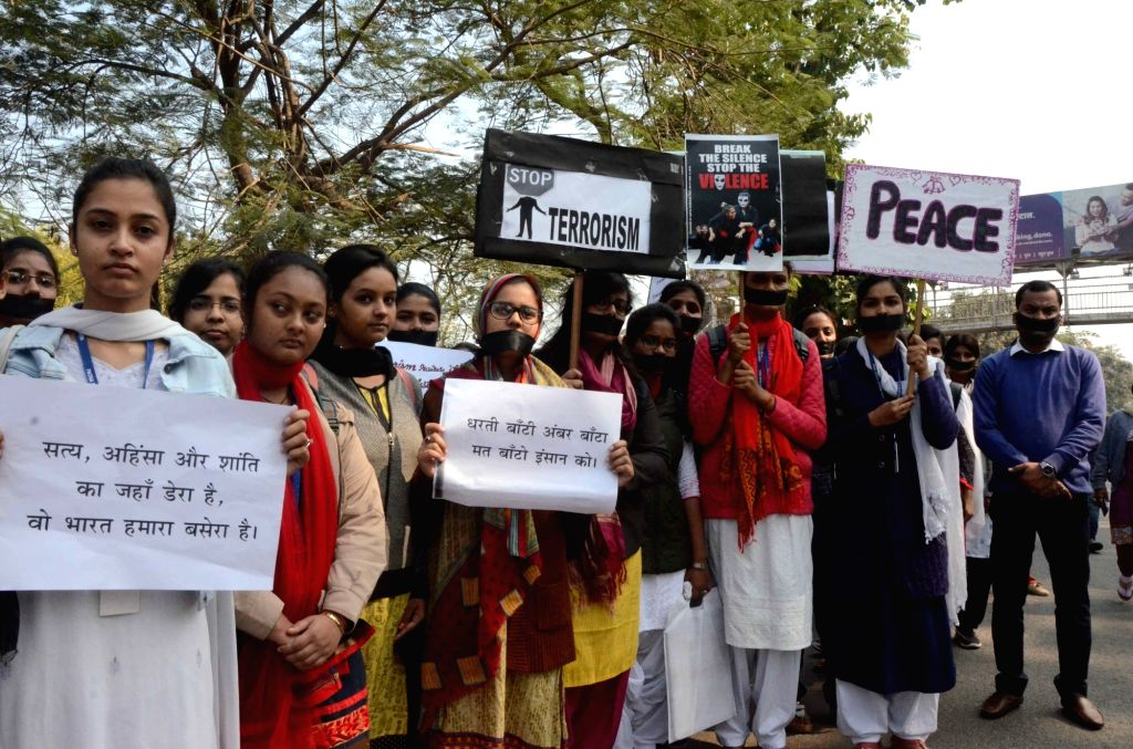 Students protest against militant attack on a CRPF convoy in Jammu and Kashmir's Pulwama district in which 49 soldiers lost their lives; in Patna on Feb 16, 2019.