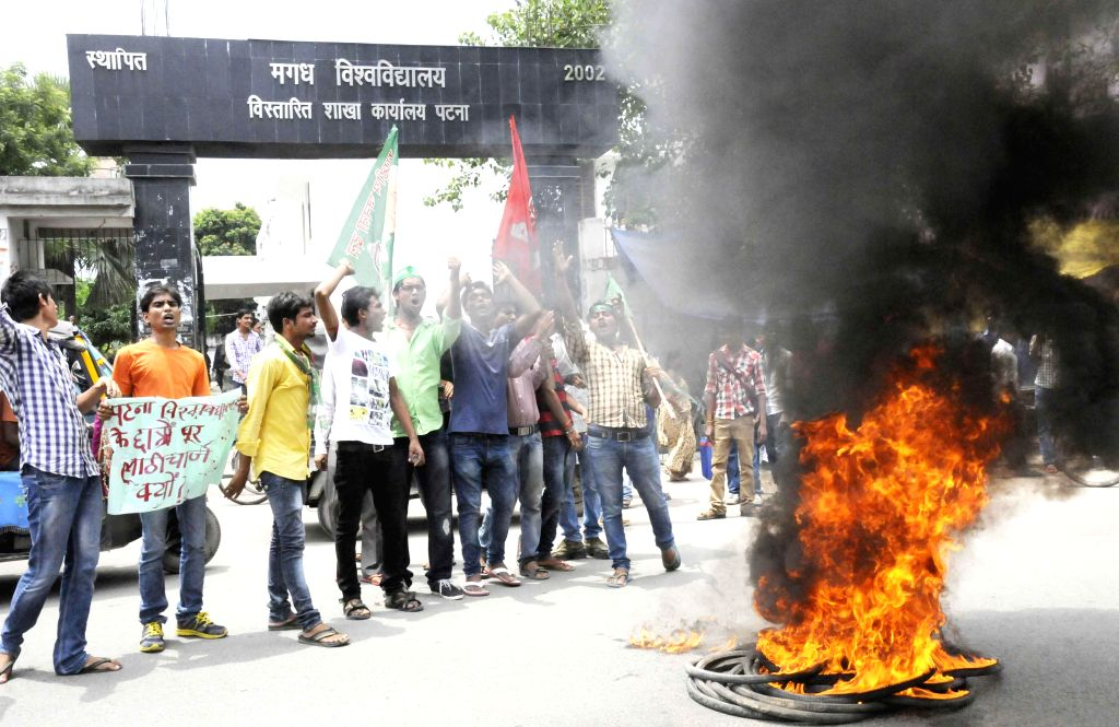 Students protest against the police lathicharge in front of Magadh University in Patna on July 26, 2014.