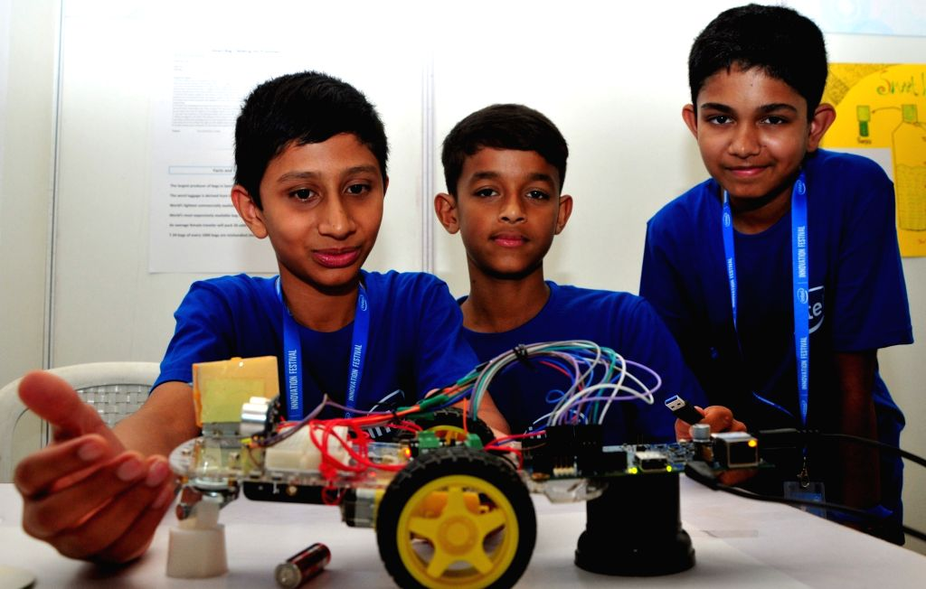 Students showcase their science projects during the 2nd day of Innovation festival in Bengaluru on April 16, 2016.